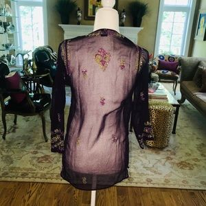 Embroidered mesh tunic